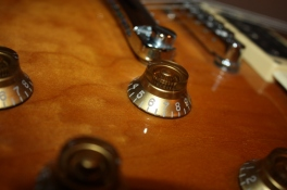 A different perspective of a small section of my son's electric guitar